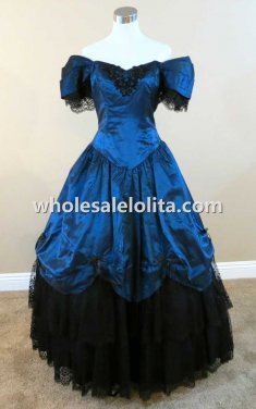 Off-the-shoulder Blue and Black Satin & Lace Victorian Civil War Reenactment Dress Wedding Ball Gown