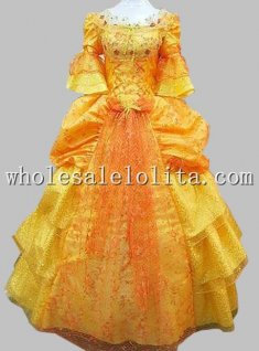 Hot Sale 17 18th Century Golden Marie Antoinette A Line Baroque Rococo Ball Gown