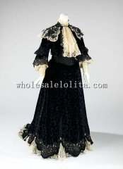 Custom Made Early 20th Century 1900s Black Silk Edwardian Visiting Dress