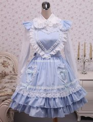 Hot Sale Cotton Blue and White Lolita Blouse And Blue Sweet Lolita Skirt