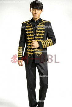 High-end Mens Black Prince Suits Medieval Mens Vintage Costume