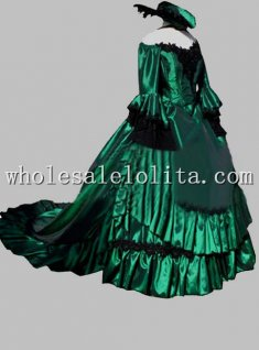 Luxury Green Off the Shoulder England Victorian Period Bustle Dress with Trailing