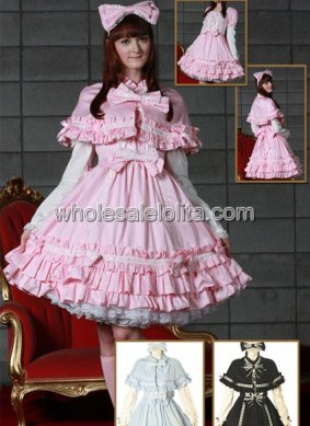 Long Sleeves Multi layer Ruffled Cotton Lolita Dress with a Wrap