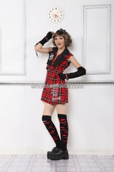 Red Checks Sleeveless Devil Death Punk Lolita Outfit