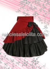 Red And Black Ruffled Cotton Lolita Skirt