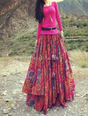 New Red Printing Cotton Elastic Waist Long Skirt