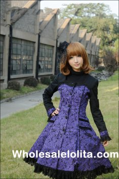 Long Sleeves Black & Purple Printing Classic Lolita Coat