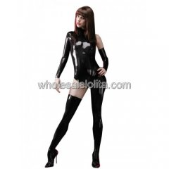 Sexy Black Asymmetrical Latex Catsuit for Women