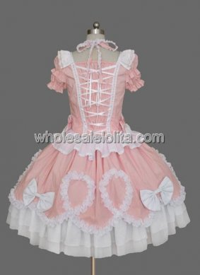 new Pink Puff Sleeves Cotton Sweet Lolita Dress