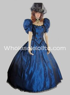 19th Century Victorian Puffy Sleeves Gothic Blue Prom Dress Ball Gown
