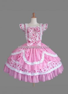 Pink Cap Sleeves Cotton Sweet Lolita Dress