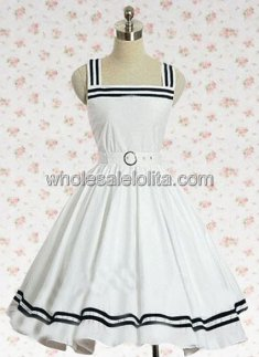 White Sleeveless Cotton JSK Sailor Lolita Dress