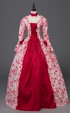 Victorian Satin Floral Print Period Dress Ball Gown Reenactment Costume