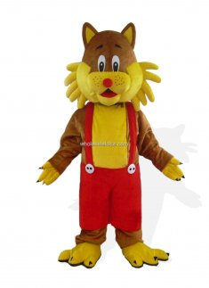 Yellow In Suspender Trousers Cat Mascot Costume