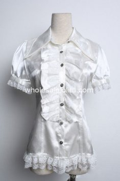 White Lace Short Sleeves Gothic Lolita Blouse