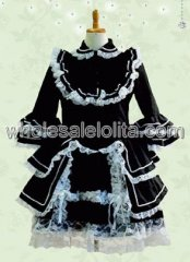Black Trumpet Sleeves Tiered Cotton Gothic Lolita Dress