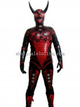 Halloween Satan Latex Cosplay Costume with Hood