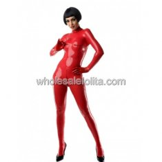 Latex Red Horizontal Matrix Catsuit for Women