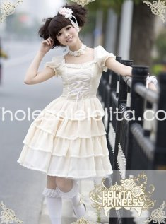 Princess Beige Chiffon Short Sleeves Square Collar OP Lolita Dress