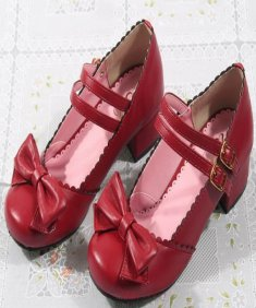 Princess Bow Dark Red 3cm Low Heel Sweet Lolita Shoes