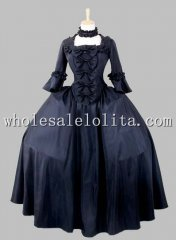 19th Century Gothic Black Victorian Era Big Ball Gown Stage Costume