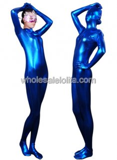 Blue Full body Shiny Metalic Catsuit