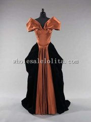 Late 1940s Black & Brown Silk Floor Length Evening Dress