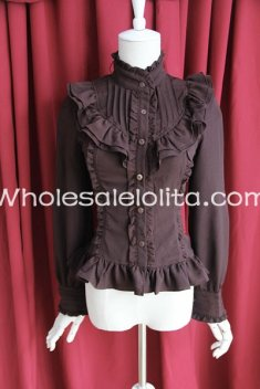Ladies Brown Chiffon Stand Collar Long Sleeves Ruffled Lolita Blouse