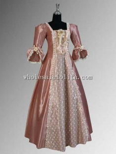 Handmade Lace Taffeta Renaissance or Victorian Style Dress Charlotte Gown Multiple Colors Available