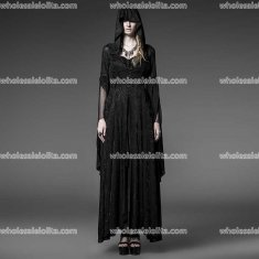 Gothic Long Black Knitting Jacquard Hooded Dress Womens Steampunk Witch/Priestess Halloween Costume Womens Outfit