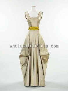 1940s Victorian Inspiration Dress - 1945s American Silk Evening Dress Draped Gowns