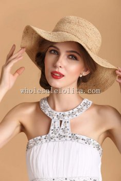 Handmade Raddia Straw Waved Wide Birm Ladies Summer Sun Hat