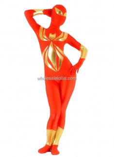 Red And Golden Lycra Spandex And Shiny Metalic Spiderman Costume