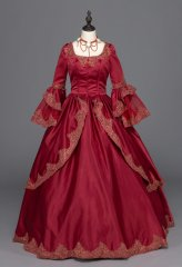 Burgundy Marie Antoinette Renaissance Dress Christmas Ball Gown Steampunk Reenactment Theatre Clothing