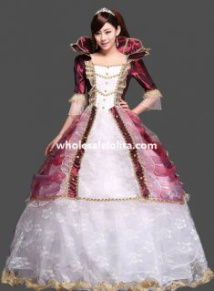 Historical Royal Court Gold Princess Theatre Clothing Theme Party Dress M1