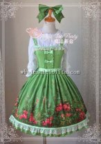 Magic Tea Party Garden Printing Green Chiffon JSK Lolita with KC