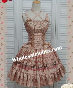 Sweet Champagne Emulation Silk-satin Printing Cross Straps Lolita Dress