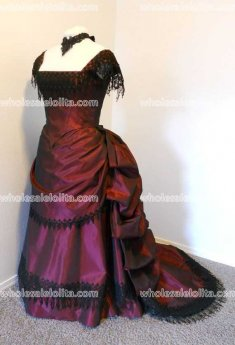 Top Sale Victorian Bustled Style Burgundy Satin Ball Gown