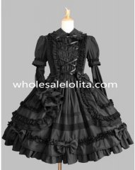 Black Faux Two Piece Gothic Lolita Dress Costume