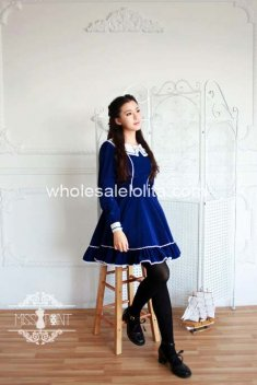 Vintage Blue Cotton Sailor Lolita Dress