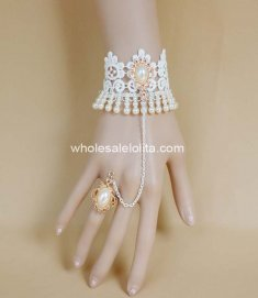 Hot Sale White & Golden Lace Pearl Bride Wedding Bracelet & Ring