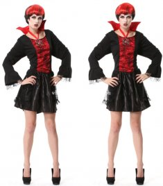 Gothic Black and Red Vampire Halloween Costume Party Dress