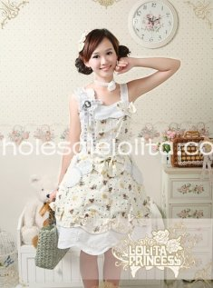 New Lovely Bear Doll Printing Light Yellow JSK Lolita Dress