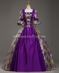18th Century Purple Marie Antoinette Period Dress Ball Gown Vintage Wedding Dress Theatre Clothing