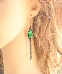 Gothic Emerald Crystal Lolita Earrings
