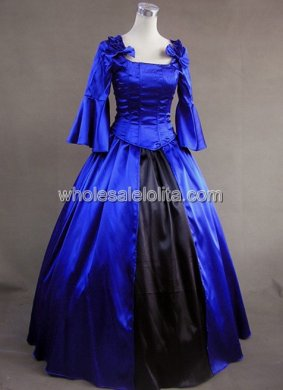 Blue and Black Long Sleeves Victorian Corset Dress