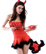 One Piece Red Dovetail Lady Devil Halloween Costume Dress