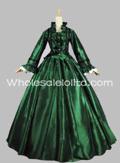 High Quality Green Civil War Satin Ball Gown Historical Dress