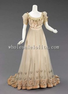 Custom Made Early 20th Century French Silk 1900s Victorian Edwardian Evening Dress