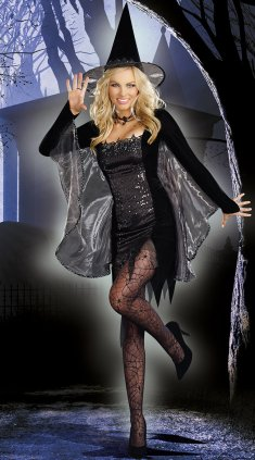 Hot Black Sequin Long Sleeves Witch Costume